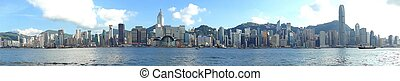 Panoramic Hong Kong Skyline - Panoramic picture of Hong Kong...