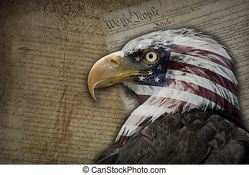 America, a dream of liberty - Bald eagle with the American...
