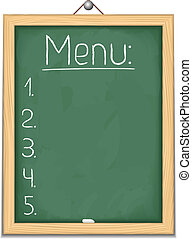 Vertical blackboard with menu, vector eps10 illustration