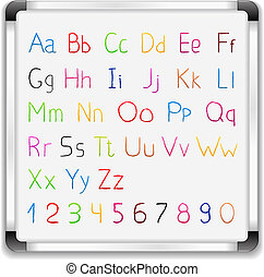 Hand drawn alphabet on whiteboard, vector eps10 illustration