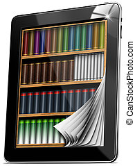 Tablet Pages Bookcase - Black tablet computer with bookcase...