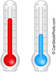 Red and blue thermometers, vector eps10 illustration