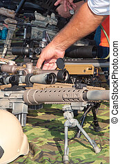 Machine Gun - Machine gus displayed at gun show on table...