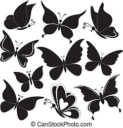 Butterflies, black silhouettes - Various butterflies, black...
