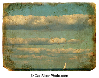 Sailing yacht and clouds. Old postcard. - Sailing yacht in...