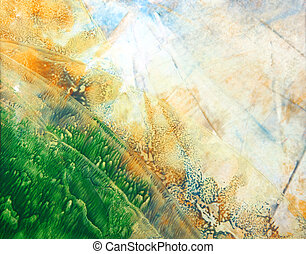 Abstract hand drawn paint background: green and blue patterns imitating summer landscape