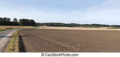 Harrowed Field - Harrowed field at fall. Panorama. Copy...