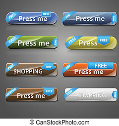 Web Buttons Vectors - Creative Abstract Conceptual Design...
