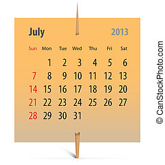 Calendar for July 2013 on an orange sticker attached with...