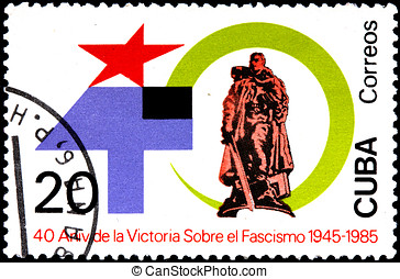 CUBA - CIRCA 1985:A Postage Stamp Shows Memorial...