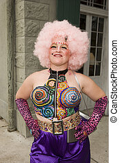 Woman wearing rhinestone vest pink hair - Mardi Gras 2007,...