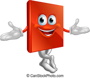 Book mascot man - Cartoon book mascot man with a big grin...