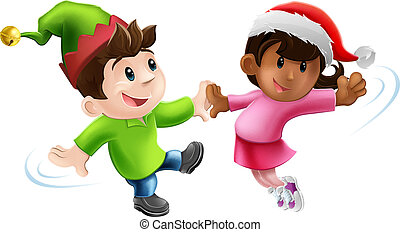 Fun Xmas Dancers - Illustration of two young people in...