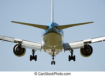Airplane Boeing 777200 before landing in Vancouver