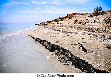 Dead Sea coast, Israel - View on the beach of the Dead Sea