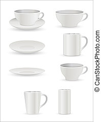 Cup and Plates Vectors - Creative Abstract Conceptual Design...