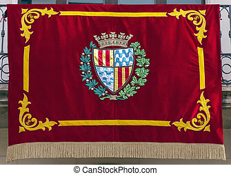 Flag gala Badalona in Diada - Flag gala Badalona, Barcelona...