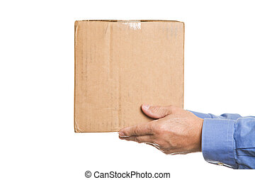 Man with a box - A shot of a man handing out a box