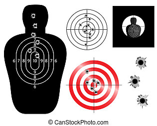 Targets - Target and sight illustrations with bullet holes