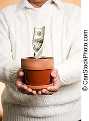 Business financial concept - A shot of a businessman holding...