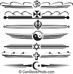 Religious symbols - Symbols of different religions in a...