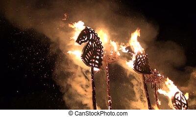 burning sculpture festival - burning autumn ethnographic...