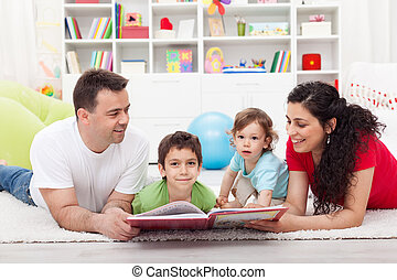 Young family story time with the kids