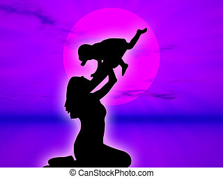 Mother and son in silhouette against the sunset