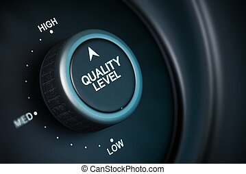 quality level button with low, medium and high positions,...