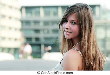 figure, portrait, beau, jeune, girl