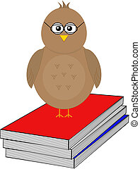 Bird with reading books