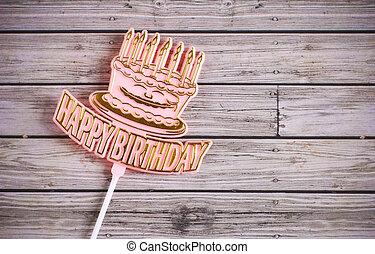 Feliz, aniversário, madeira, fundo