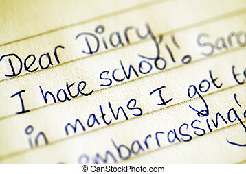 Dear Diary Confession - A teenagers diary entry