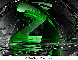 letter z in abstract futuristic space - 3d illustration