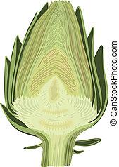 Halved artichoke isolated