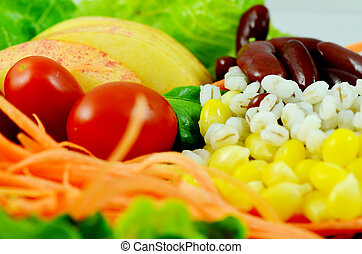 Organic Salad - Healthy food made from fresh fruit vegetable...