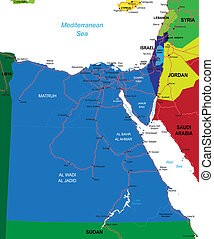 Egypt map - Detailed vector map of Egypt with country...