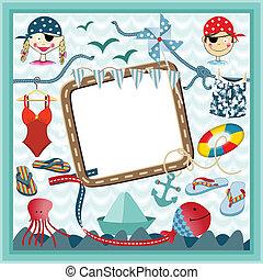 Digital frame nautical pirates