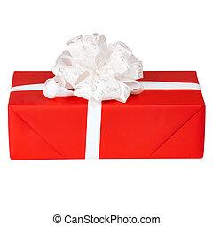 箱子, 禮物, 單個, 肋骨, 銀, 紅色