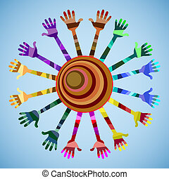 our world has a lot of colors and f - many hands of...