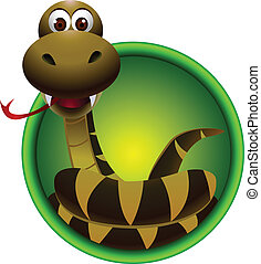 cute snake cartoon - vector illustration of cute snake...