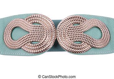 Fashionable colorful belt on white background