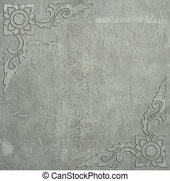 Thai art frame made ??of cement wall