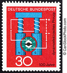 Postage stamp Germany 1966 Diagram of Dynamo - GERMANY -...