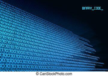 binário, código, zero, &, um