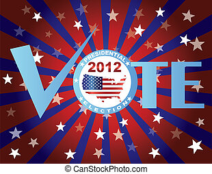 Vote Red White and Blue Stars Sun Rays