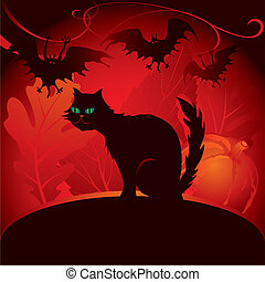 Halloween black cat with bats