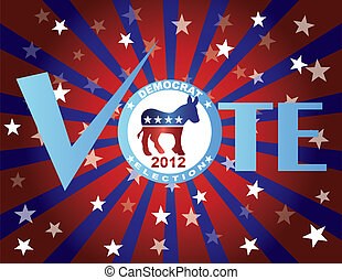 Vote Democrat Red White and Blue Stars Background