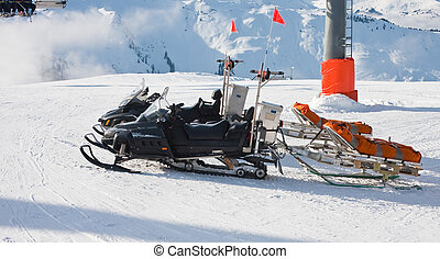 Snowmobile and trailer. Ski resort Zell am See. Austria -...