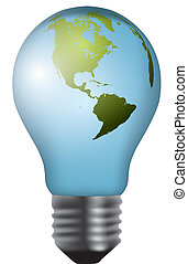 eco concept: light bulbs with map of world inside